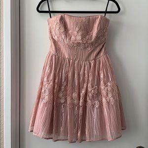 Pink Sequin strapless Bebe dress, size 6
